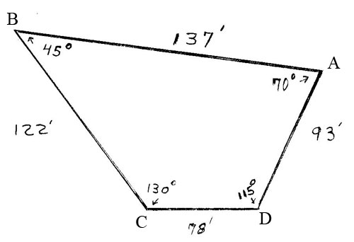 how to find the area of a 5 sided shape